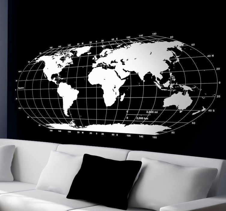 TENSTICKERS. モノクロ世界地図壁ステッカー. プロのカーブした外観で世界を示すモノクロの世界地図壁のステッカー。テンスティッカーによって設計された地球の本当の形。このすっきりとした地球儀のステッカーは、50種類の色があり、寝室、リビングルーム、オフィス、10代の部屋などを飾るのに最適です!