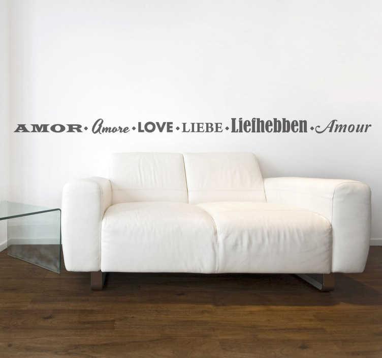 TENSTICKERS. 6つの言語の壁のステッカーでの愛. 愛を言う6つの異なった方法のモノクロテキストステッカー。スペイン語、イタリア語、英語、ドイツ語、オランダ語、フランス語。愛の壁のステッカーのコレクションから、非常にスタイリッシュでエレガントな壁のデカール。