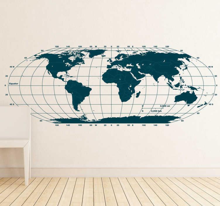 TenStickers. Sticker planisphère horizontal. Décorez les murs de votre maison avec cette mappemonde exclusive en sticker. Les contients et les lignes de la version originale de notre carte du monde sont bleu foncé et les frontières bleu clair. Indiquez votre couleur personnalisée en observations.