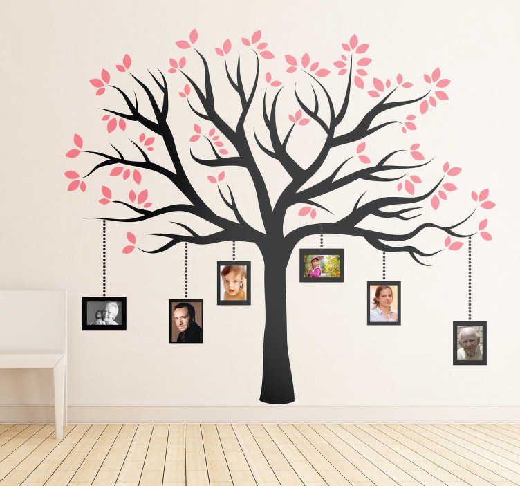 TenStickers. Hanging Frames Tree Wall Sticker. An elegant design illustrating a family tree with pink leaves. A magnificent decal from our collection of family wall art stickers.