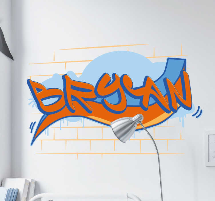 TenStickers. 맞춤 낙서 벽 스티커. 낙서 이름 벽 스티커 - 낙서로 뿌려지는 당신의 벽에 당신의 이름이있을 수있는 십대 침실 벽 스티커.