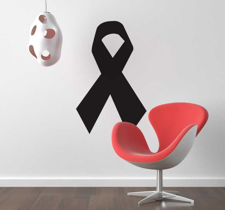TenStickers. Solidariteit herdenking zwart strik sticker. Op deze muursticker zie je het internationale teken voor de herdenking van overledenen en slachtoffers.