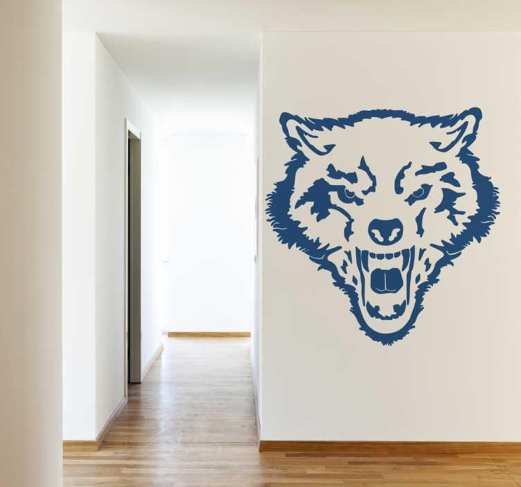 TenStickers. Naklejka dekoracyjna dziki wilki. Naklejka dekoracyjna przedstawiająca pysk dzikiego wilka, którym możesz udekorować Swój pokój. Obrazek jest dostępny w wielu kolorach i wymiarach.