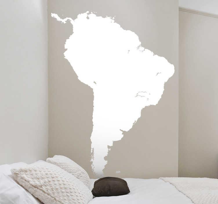 TenStickers. Sticker silhouette Zuid-Amerika. Deze muursticker symboliseert het continent Zuid-Amerika. Beschikbaar in verschillende groottes en kleuren.
