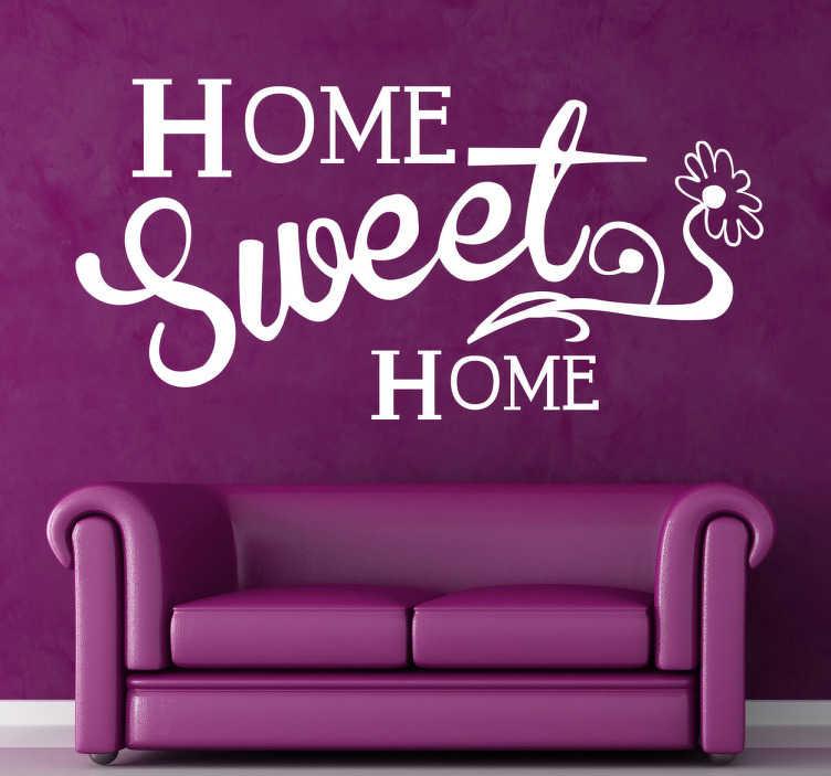 """TenStickers. 홈 달콤한 홈 텍스트 벽 스티커. 이 원본 벽 훈장 """"가정 달콤한 집""""은 당신의 가정에있는 온정 그리고 친절의 분위기를 창조하는 중대한 훈장이다. 할인이 가능합니다."""