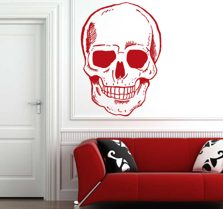 TenStickers. Sticker decorativo teschio sorridente. Wall sticker decorativo che raffigura il disegno  di un teschio sorridente.