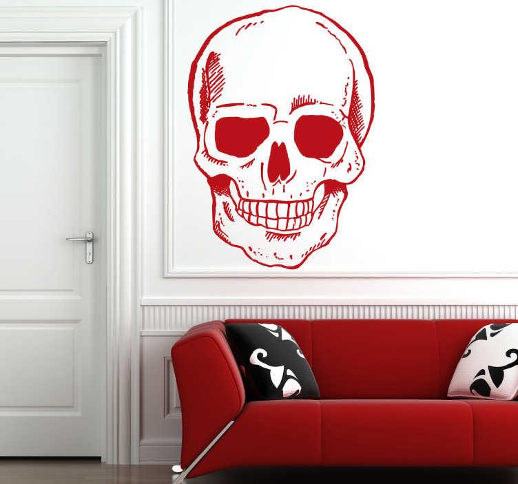 TenStickers. Sticker crâne de tête souriante. Un crâne très souriant sur sticker pour personnaliser votre espace ou votre magasin pendant Halloween ou le carnaval. Service Client Rapide.