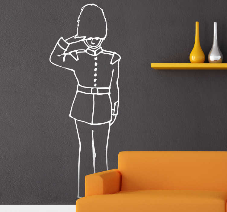 TenStickers. Queen's Guard Outline Wall Sticker. An outline design of one of the Queen's guards saluting and wearing the traditional uniform, from our collection of UK themed wall stickers. Fun image of one of the royal guards who watches over Buckingham palace in London to decorate your home or business in an alternative and creative way.