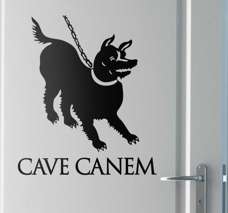 "TenStickers. Cave Canem Decal. Decals - Illustration inspired by the city of Pompeii. Latin phrase meaning ""Beware of the dog"". Available in various sizes and in 50 colours."