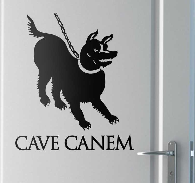 """TenVinilo. Vinilo decorativo cave canem. Vinilo basado en un dibujo original de la ciudad de Pompeya que avisa que hay que tener cuidado con el perro.""""Cave canem"""" en latín. Igual que hoy en día los habitantes de la Antigua Roma avisaban a los posibles intrusos que sus mascotas vigilaban la casa."""