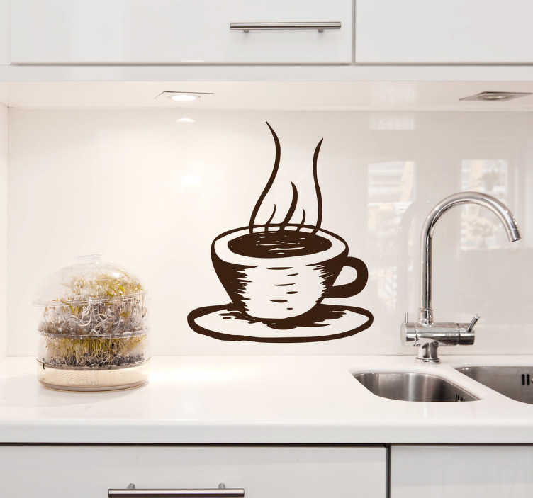 TenStickers. Hot Coffee Illustration Decal. Illustration of a hot cup of coffee. A brilliant coffee wall art sticker to decorate your kitchen, cafe or restaurant! This original monochrome coffee decal is available in various sizes and in 50 different colours.