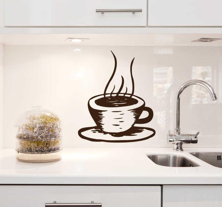 TenStickers. Naklejka do kuchnii gorąca kawa. Naklejka dekoracyjna przedstawiająca filiżankę z goracą kawą. Minimalistyczna dekoracja do kuchni, kawiarni lub pubu.