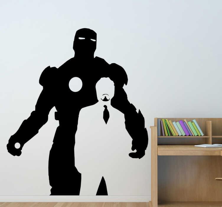 TenStickers. Sticker iron man. Fan de Marvel ? Le sticker des silhouettes d'Iron Man et de Stark en noir et blanc pour personnaliser votre espace et créer une ambiamce unique et pleine d'action.