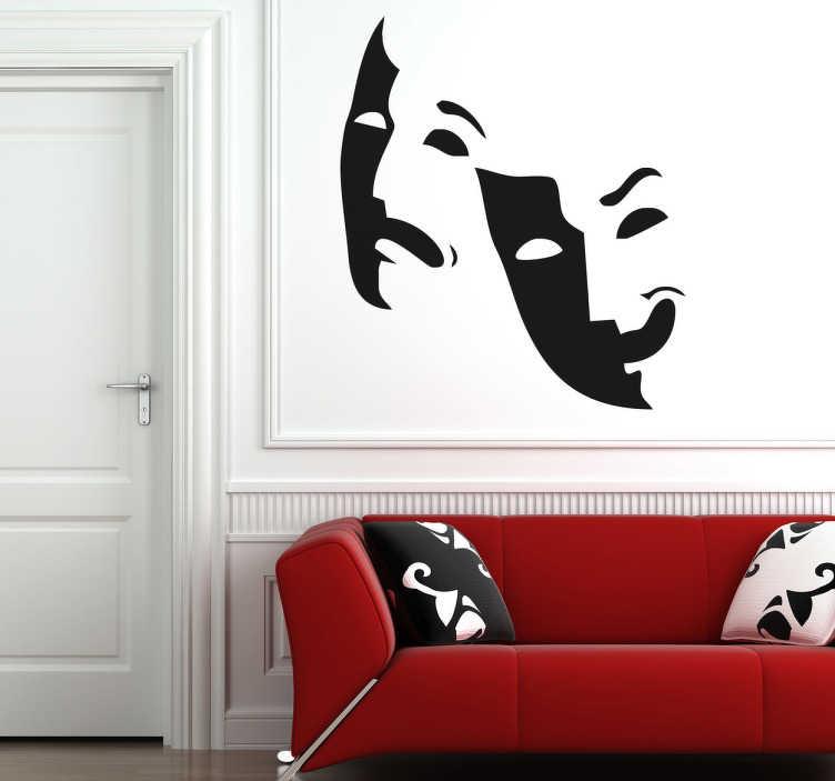 Sticker murale maschere teatrali