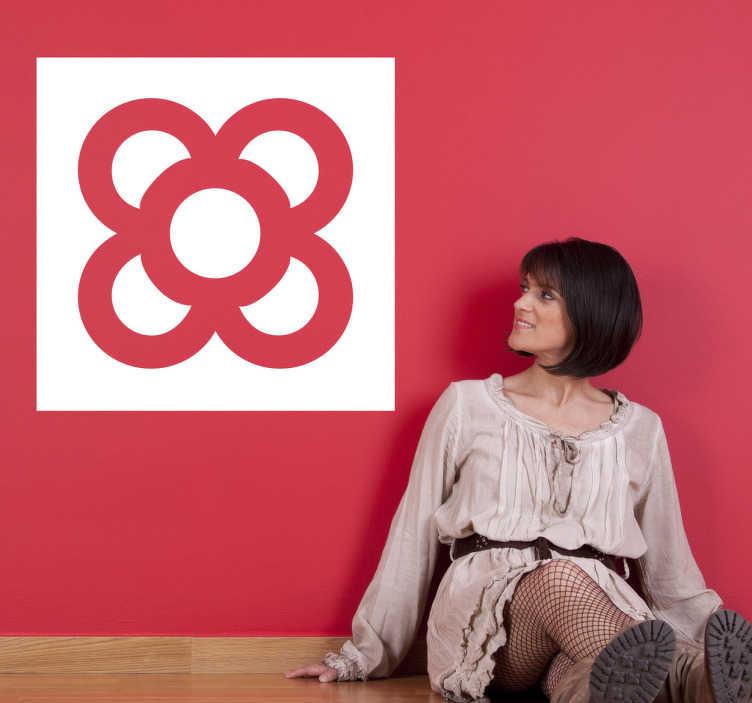 TenVinilo. Vinilo decorativo panot de Barcelona. Sticker del clásico panot barcelonés con la síntesis de una flor para personalizar tu hogar o negocio.