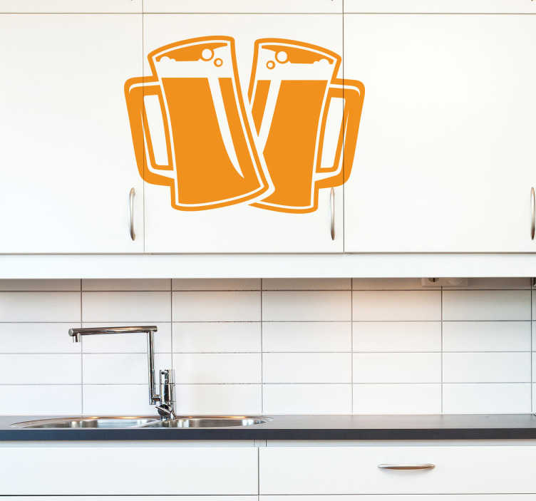 TenStickers. Two Pints of Beer Decal. Beer wall sticker - Two pint glasses filled with ice cold beer topped with creamy bubbly foam heads. Perfect drink sticker to decorate a kitchen, bar or man cave with.