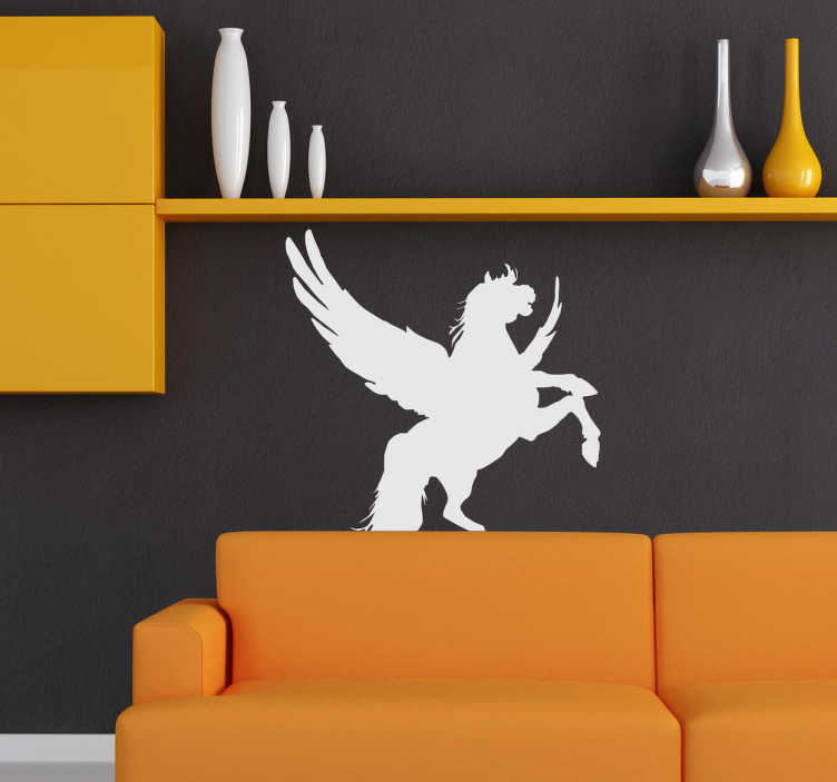 TenStickers. Stencil muro silhouette cavallo alato. Adesivo murale con un elegante cavallo alato. Con questa spettacolare creatura mitologica potrai rendere i tuoi spazi unici e fantasiosi.