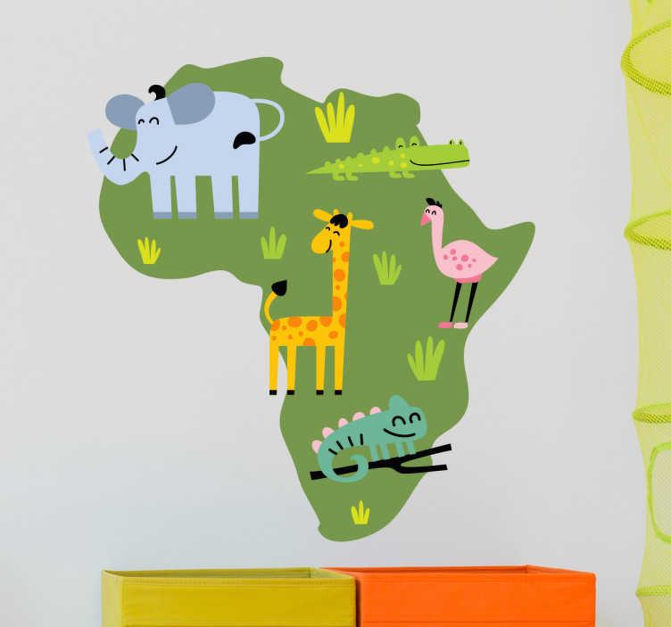 TenStickers. Naklejka mapa i zwierzęta Afryki. Oryginalna naklejka dekoracyjna przedstawiająca kontynent afrykański z zaznaczonymi państwami oraz typowe zwierzęta dla tego kontynentu. Obrazek istnieje w wielu wymiarach.