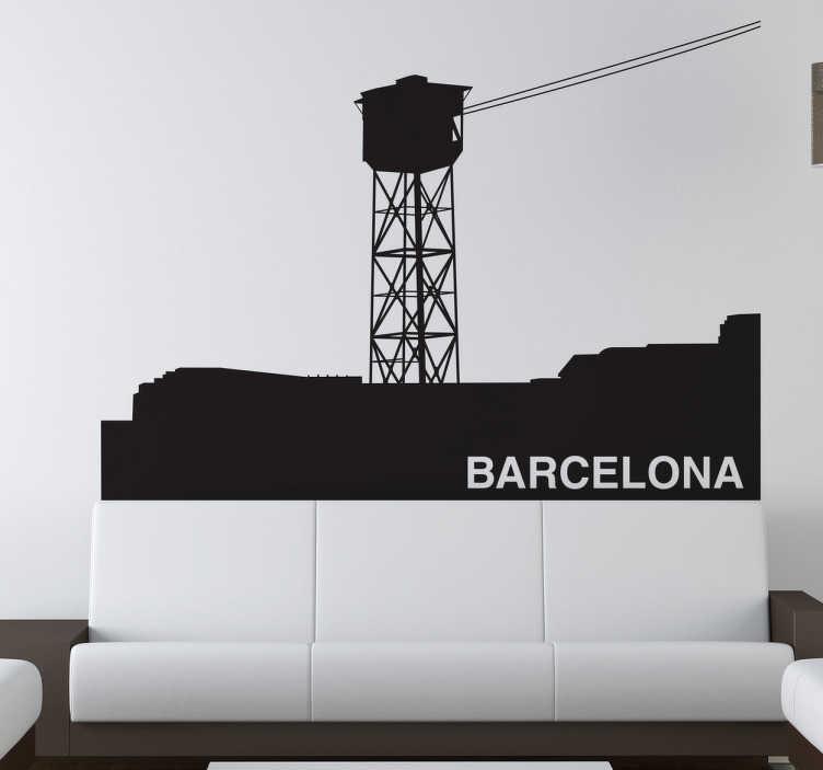 TenVinilo. Vinilo decorativo teleférico Barcelona. Murales y vinilos inspirados en Barcelona en este caso el famoso teleférico que parte del puerto hasta Montjuïc.