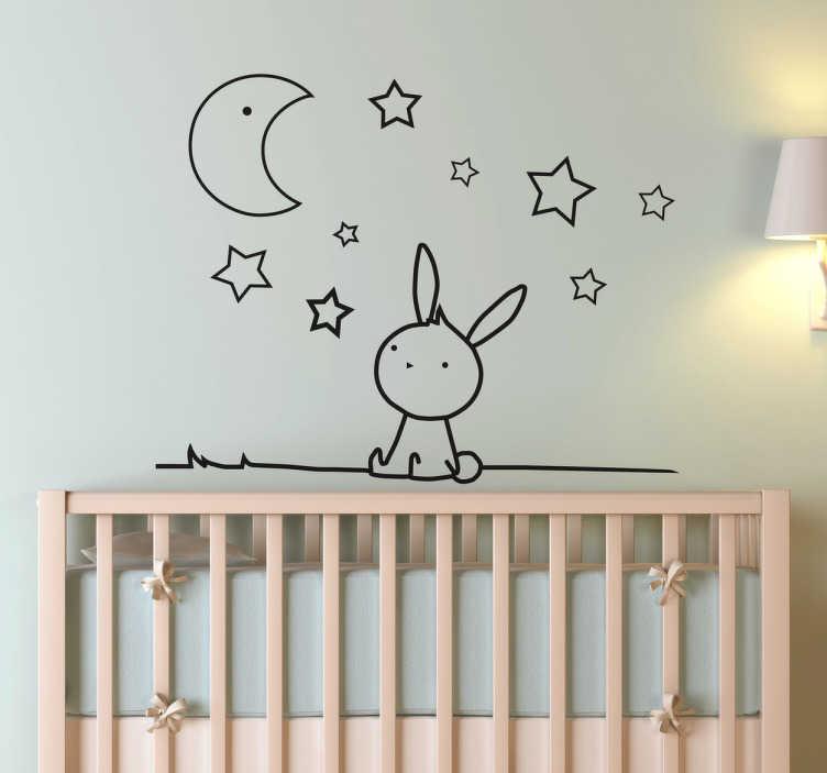 TenStickers. 兔子月亮和星星墙贴纸. 可爱的单色孩子墙贴着一只小兔子抬头看着星星和月亮在天空中,完美的装饰托儿所,孩子的卧室或游乐区创造一个平静和友好的气氛。