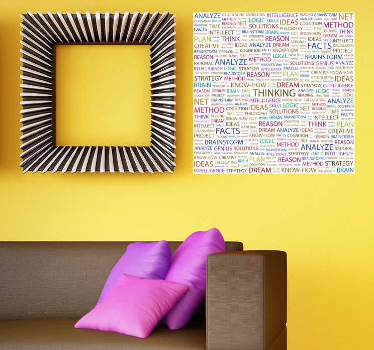 """TenStickers. Sticker tekst Thinking. Een Engelstalige muursticker met allerlei woorden gerelateerd aan het woord """"Thinking"""". Decoreer uw woning met deze leuke kleurrijke muurdecoratie."""