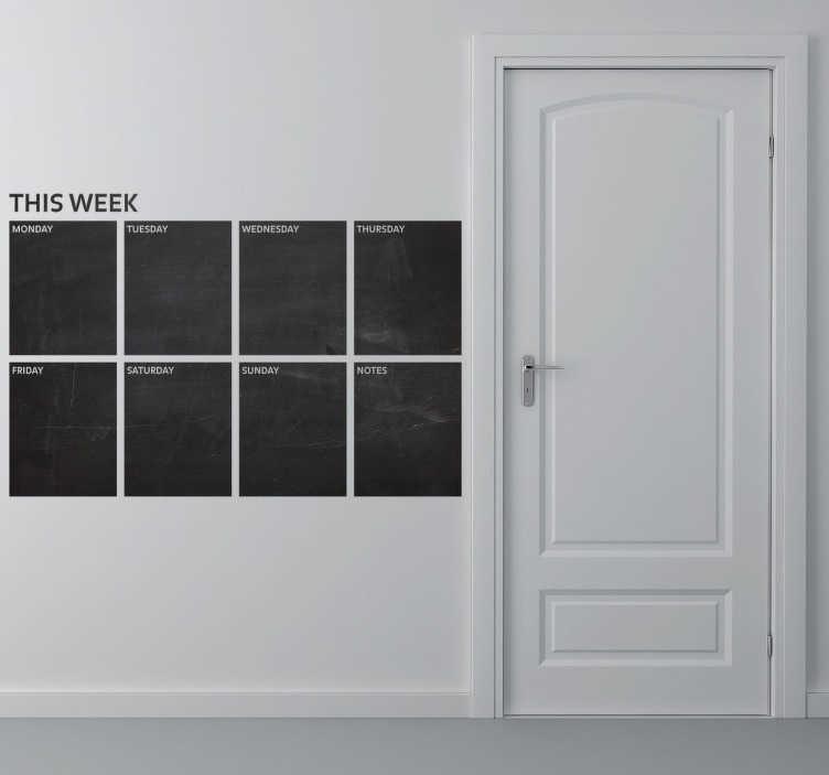 TenStickers. This week Tafelfolie. Monday, Tuesday, Wednesday.. Mit dieser Tafelfolie der Wochentage können Sie Ihre Woche genau planen. Diese Folie kann mit Kreide beschriftet werden.