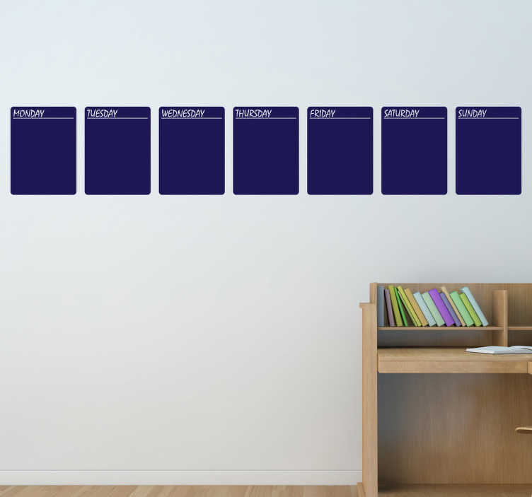 TenStickers. Krijtbord agenda sticker. Vergeet nooit meer je belangrijke afspraken of notities met deze heel handige muursticker van krijtbord met de dagen van de hele week erop!