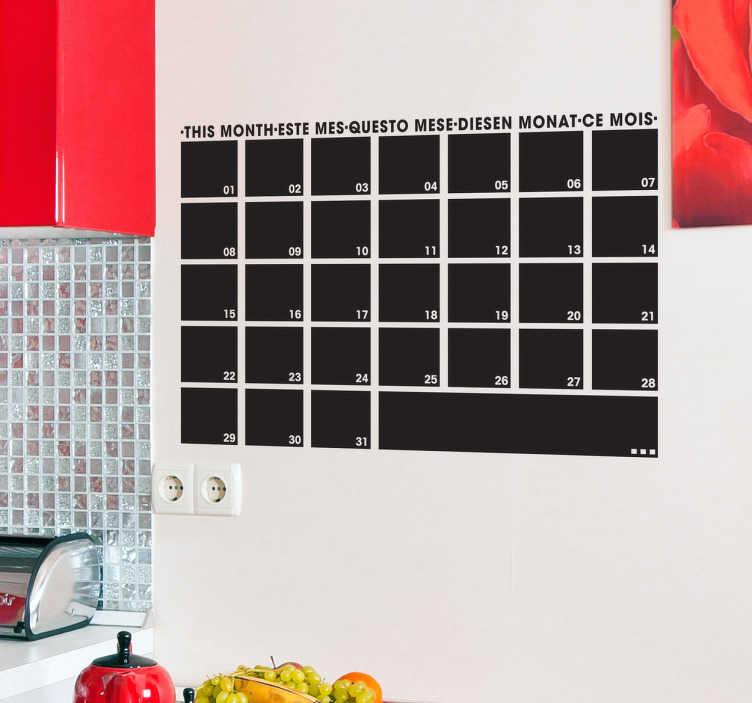 TenStickers. Naklejka tablica miesięczny organizer. Praktyczna naklejka na ścianę typu tablica kredowa przedstawiająca tablicę podzieloną na 31 mniejszych cześci, której przypisane są poszczególne dni miesiąca. Zapisuj ważne notatki i nie pozwól, aby coś umknęło Twojej uwadze.