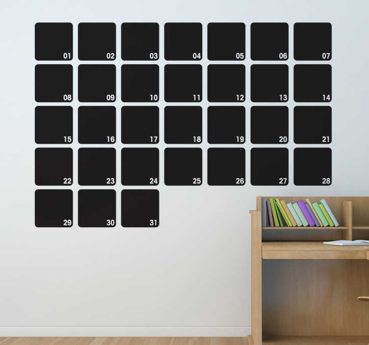 TenStickers. Měsíční plánovač štítek tabule. Plánovač na tabuli - organizujte svůj měsíc doma nebo v kanceláři. Ideální pro zdobení jakékoli místnosti a praktické pro kreslení a psaní poznámek.