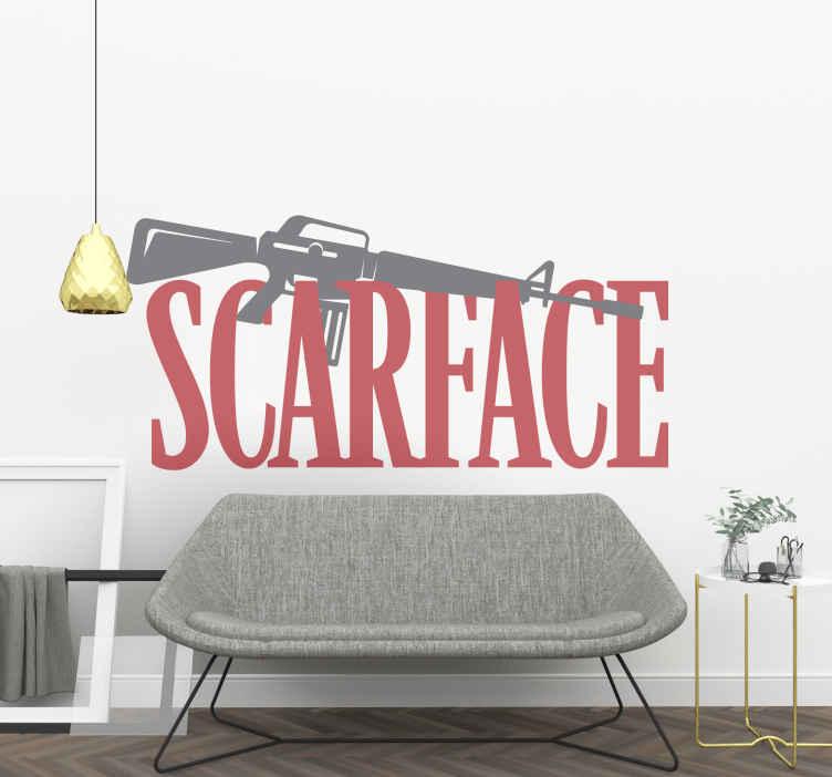 Image of Sticker film Immagine del film scarface con testo