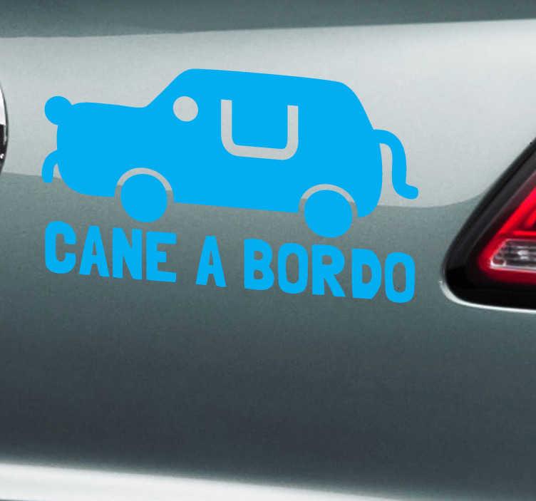 TenStickers. Sticker decorativo logo cane a bordo. Applica questo simpatico adesivo alla tua automobile e fai sapere a tutti che in macchina viaggia anche il tuo amico a quattro zampe.