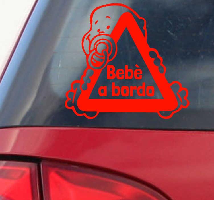 TenStickers. Sticker decorativo logo bimbo a bordo. Grazie a questo fantastico sticker decorativo con simbolo bimbo a bordo potrai avvisare in modo simpatico gli altri automobilisti di essere prudenti!