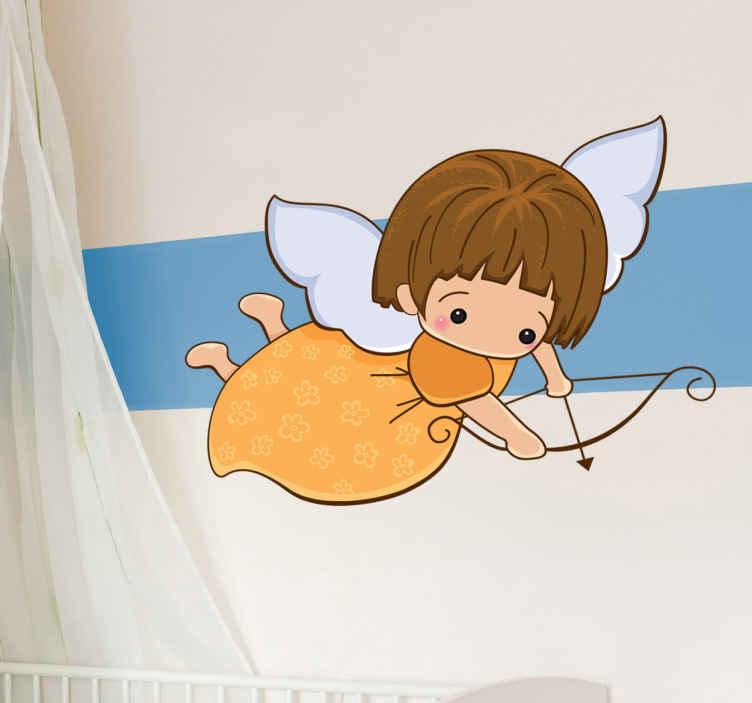 TenVinilo. Vinilo infantil querubín con arco. Vinilo decorativo infantil de un ángel con imagen de niña con vestido amarillo de flores apuntando con un arco y una flecha mientras vuela con sus alas blancas.