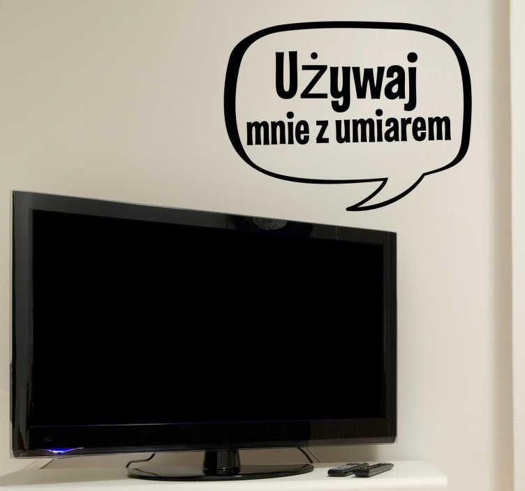 Naklejka na ścianę umiar telewizor