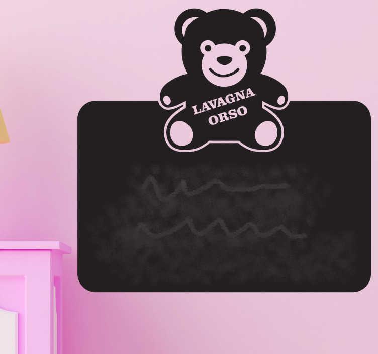 TenStickers. Sticker decorativo lavagna orso. Adesivo murale che potrai usare come lavagna per scrivere ed annotare tutti i tuoi pensieri e promemoria.