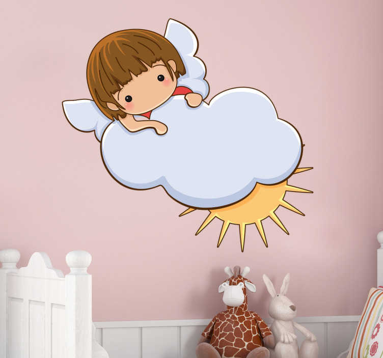TenStickers. Engel mit Wolke Aufkleber. Wandtattoo Wolken - Ein Engel mit einer Wolke und der Sonne. Mit diesem Aufkleber können Sie die Wand im Kinderzimmer zum Hingucker machen.
