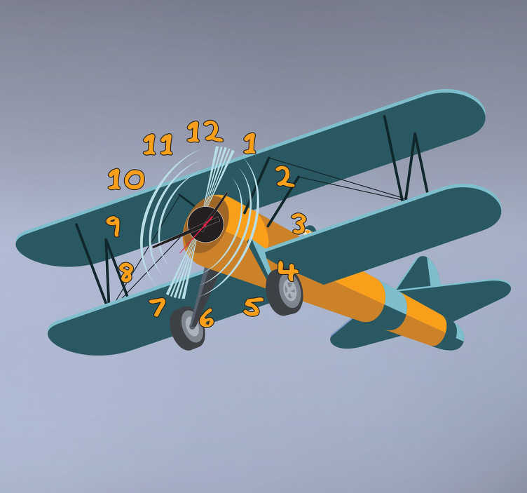 TenStickers. Naklejka zegar dziecięcy samolot. Prosta i praktyczna naklejka dla dzieci, która przedstawia zegar na ścianę w formie lecącego samolotu w kolorze żółto-zielonym.