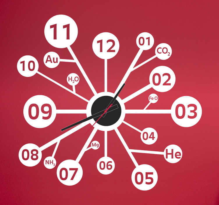 TenStickers. Naklejka chemiczny zegar. Pomysłowy wzór naklejki dekoracyjnej zawierającej zegar ścienny inspirowany naukami ścisłymi. Każda godzina znajduje się w odrebnym kole, a gdzieniegdzie wyłaniając się nazwy pierwiastków. Idealna dekoracja do sali chemicznej bądź pokoju dziecka, który odkrywa swoje chemiczne powołania.