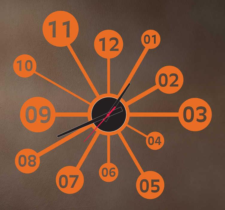 TenStickers. Wissenschaft Uhr Aufkleber. Mit dieser Wandtattoo Uhr im wissenschaftlichen Design können Sie Ihr Zuhause dekorieren und gleichzeitig die Zeit im Auge behalten.
