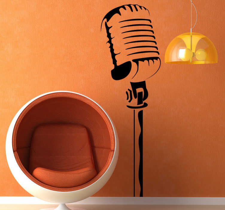 TenStickers. Sticker afbeelding microfoon. Een originele muursticker met een afbeelding van een vintage staande microfoon. Leuke wanddecoratie voor de zangers en liefhebbers van muziek!