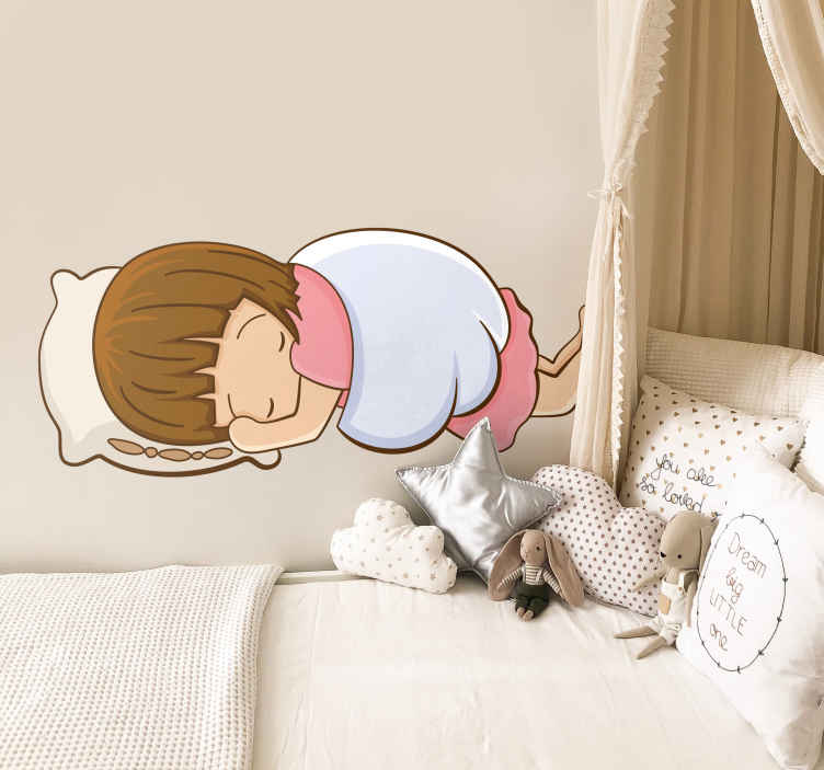 TenVinilo. Pegatina infantil siesta del querubín. Vinilo decorativo infantil de un ángel con aspecto de niña durmiendo sobre un cojín mientras se tapa y protege con sus propias alas.
