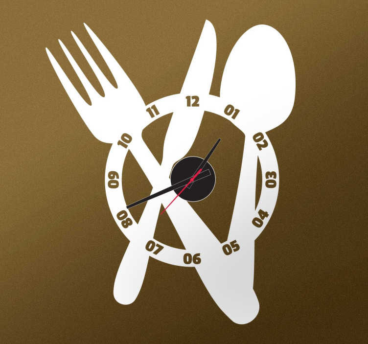 Tenstickers. Kellotarra Ruokailuvälineet. Mahtava kellotarra, joka sopii kotiin ja yritykseen. Kellotarrassa on ruokailuvälineet taustalla.