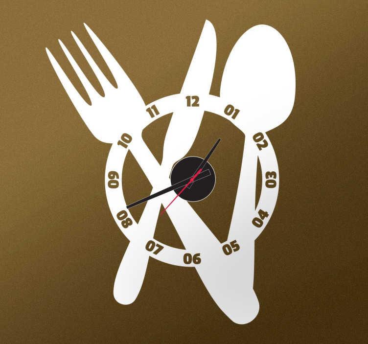 Large Cutlery Clock Sticker