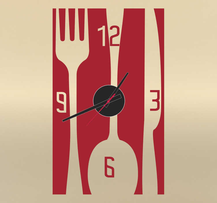 TenStickers. Rectangular Cutlery Clock Decal. A chic clock decal for you to decorate your kitchen in a practical and stylish way.