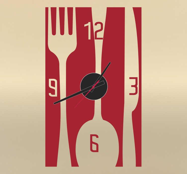 Tenstickers. Ruokailuvälineet kello seinätarra. Tyylikäs kellotarra, jossa on ruokailuvälineet. Kello sisustustarra sopii täydellisesti kotiin ja työpaikalle. Ideaalinen tarra keittiöön.