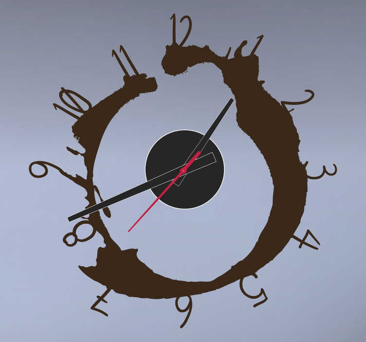 TenStickers. Coffee Stain Wall Clock Sticker. Wall Clocks - Coffee stain design. Distinctive, fun and ideal for decorating your home or any space.