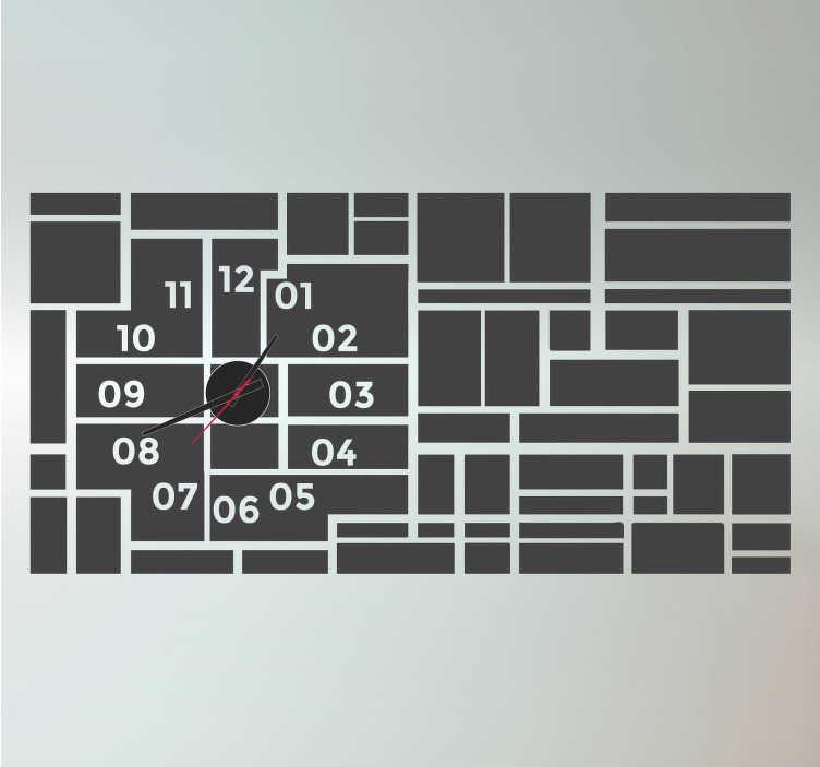TenStickers. Rechthoekig klok sticker. Wees altijd op zijn met deze moderne en originele rechthoekige klok muursticker! Je ziet allemaal verschillende rechthoeken bij elkaar!