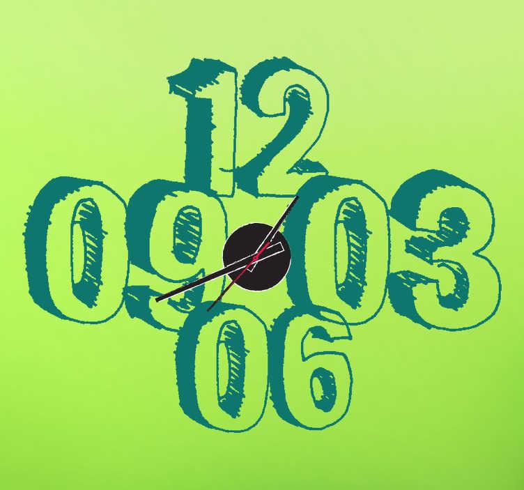 Naklejka zegar rysunkowe liczby