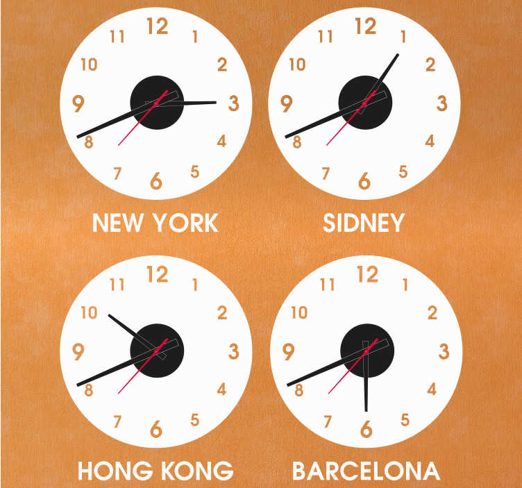 TENSTICKERS. 国と都市の時計ステッカー時計. 異なる国名の装飾的な壁時計ステッカー。それは様々なサイズのオプションで利用可能であり、それはアプリケーションが簡単です。