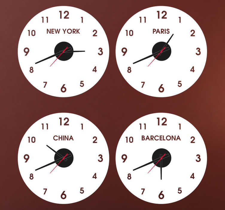 TenStickers. Sticker orologio paesi. Originali orologi adesivi personalizzati. Decorazione sticker che ti permetterà di conoscere l'orario di paesi e città che preferisci.